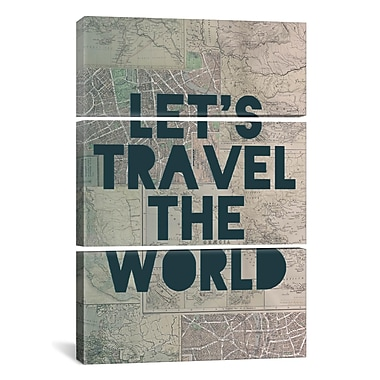iCanvas Leah Flores Travel the World 3 Piece Graphic Art on Wrapped Canvas Set
