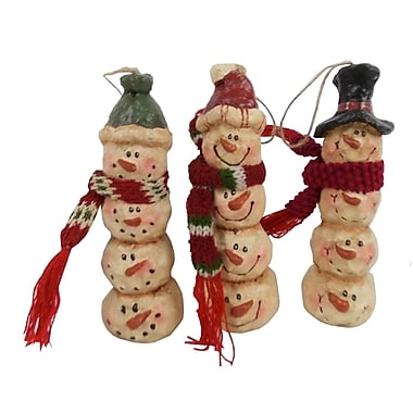 Craft Outlet Long Snowman Head Ornament (Set of 6)
