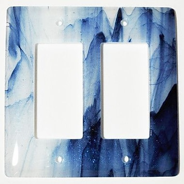 Hot Knobs Swirl 2 Gang Decora Wall Plate; Metallic Blue and Clear