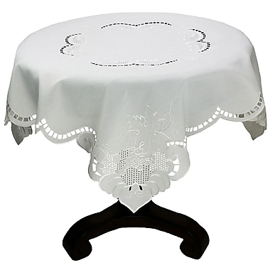 Xia Home Fashions Grapes and Leaves Embroidered Cutwork Table Topper; 48'' H x 48'' W