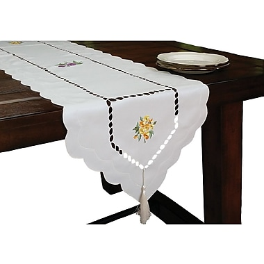 Xia Home Fashions Bouquet Embroidered Cutwork Table Runner; 15'' H x 72'' W