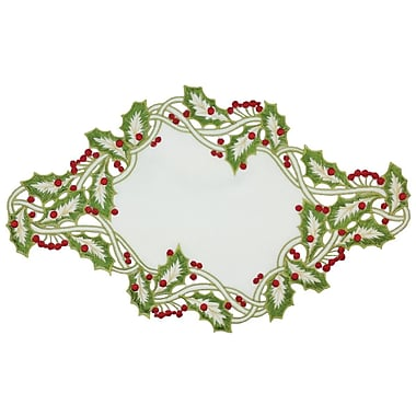 Xia Home Fashions Holiday Holly Embroidered Cutwork Placemat (Set of 4); White
