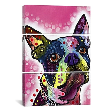 iCanvas Dean Russo Boston Terrier 3 Piece on Wrapped Canvas Set; 60'' H x 40'' W x 1.5'' D