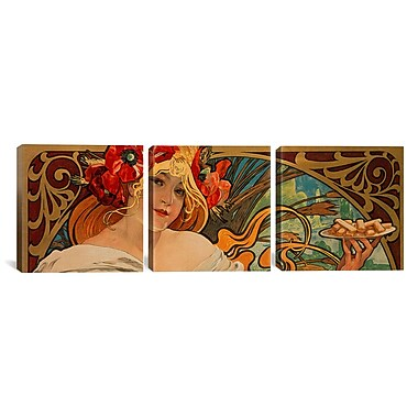 iCanvas Biscuits Lefevre Utile by Alphonse Mucha 3 Piece Painting Print on Wrapped Canvas Set