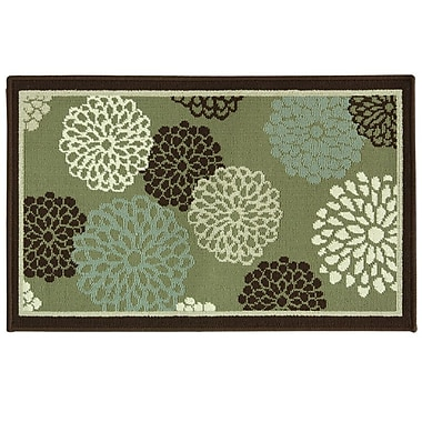 Bacova Guild Cotton Elegance Tan/Blue Blossom Rug; 1'8'' x 2'9''