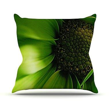 KESS InHouse Green Flower Throw Pillow; 18'' H x 18'' W