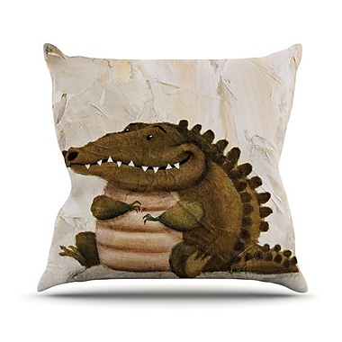 KESS InHouse Smiley Crocodiley Throw Pillow; 26'' H x 26'' W