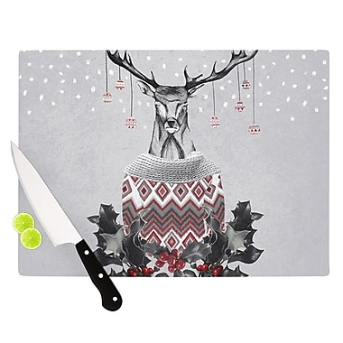 KESS InHouse Christmas Deer Snow Cutting Board; 8.25'' H x 11.5'' W x 0.25'' D