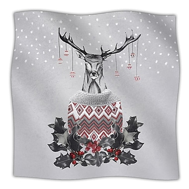 KESS InHouse Christmas Deer Snow Fleece Throw Blanket; 60'' L x 50'' W