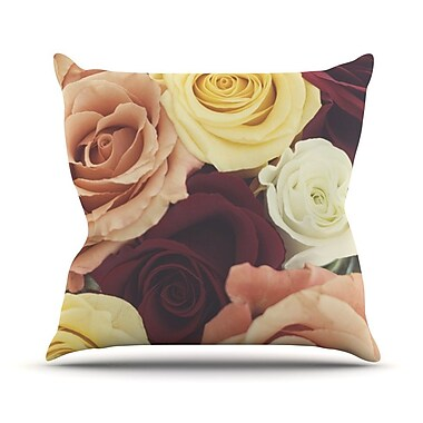 KESS InHouse Vintage Roses Throw Pillow; 16'' H x 16'' W