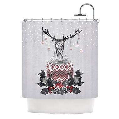 KESS InHouse Christmas Deer Snow Shower Curtain