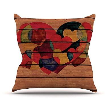 KESS InHouse Wooden Heart Throw Pillow; 18'' H x 18'' W
