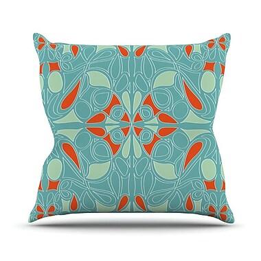 KESS InHouse Seafoam and Orange Throw Pillow; 18'' H x 18'' W