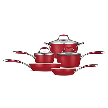 Tramontina Gourmet Ceramica Deluxe 8-Piece Cookware Set; Metallic Red