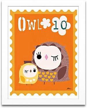 Timeless Frames Owl Animal Stamp Framed Graphic Art