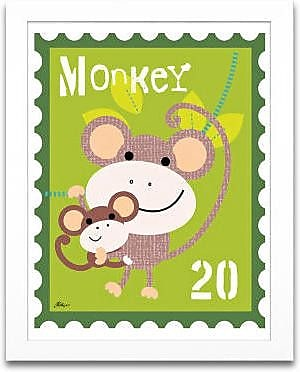 Timeless Frames Monkey Animal Stamp Framed Graphic Art