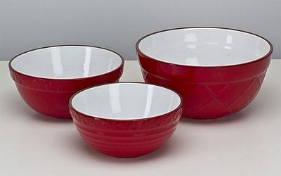 Omniware 3 Piece Mixing Bowl Set (Set of 3); Red