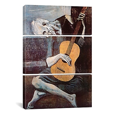 iCanvas The Old Guitarist by Pablo Picasso 3 Piece Painting Print on Wrapped Canvas Set