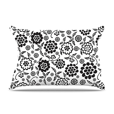 KESS InHouse Cherry Floral White Pillow Case; Standard