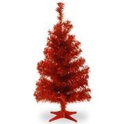 National Tree Co. Tinsel Trees 2'' Red Artificial Christmas Tree w/ Stand
