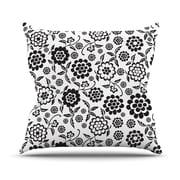 KESS InHouse Cherry Floral White Throw Pillow; 18'' H x 18'' W