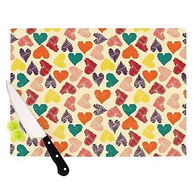 KESS InHouse Little Hearts Cutting Board; 11.5'' H x 15.75'' W x 0.15'' D