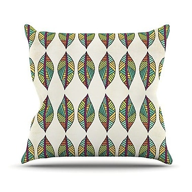 KESS InHouse Tribal Leaves Throw Pillow; 18'' H x 18'' W