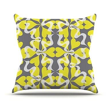 KESS InHouse Flowering Hearts Throw Pillow; 18'' H x 18'' W