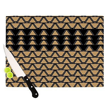 KESS InHouse Deco Angles Gold Black Cutting Board; 8.25'' H x 11.5'' W x 0.25'' D