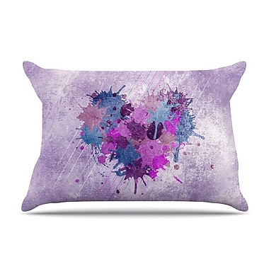 KESS InHouse Painted Heart Pillow Case; King