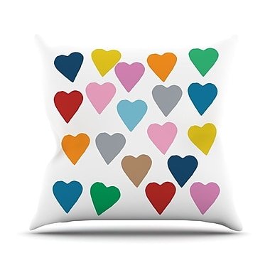 KESS InHouse Colorful Hearts Throw Pillow; 16'' H x 16'' W