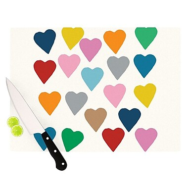 KESS InHouse Colorful Hearts Cutting Board; 11.5'' H x 15.75'' W x 0.15'' D
