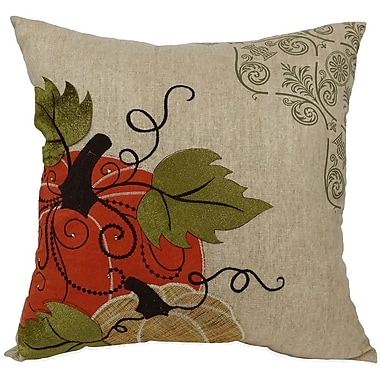Xia Home Fashions Pumpkin Embroidered w/ Suede Accents Throw Pillow