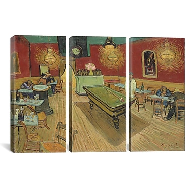 iCanvas The Night Cafe by Vincent van Gogh 3 Piece Painting Print on Wrapped Canvas Set