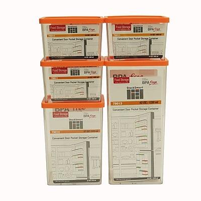 Kinetic Go Green StackSmart Rectangular 5 Container Food Storage Set; Orange
