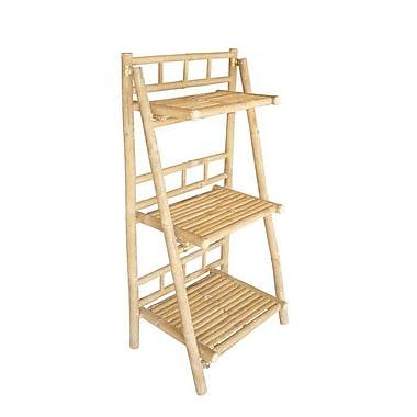 ZEW Bamboo 3 Tier Decorative 42'' Leaning Bookcase