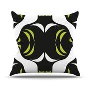 KESS InHouse Green White Jaws Throw Pillow; 18'' H x 18'' W