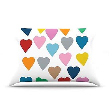 KESS InHouse Colorful Hearts Pillow Case; Standard