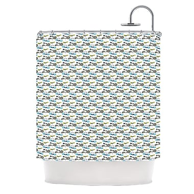 KESS InHouse Shower Curtain; Mapleseeds Turquoise
