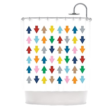 KESS InHouse Arrows Up And Down Shower Curtain; White
