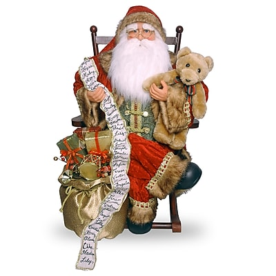 National Tree Co. Plush D cor Plush Santa Sitting on Rocking Chair WYF078277098492