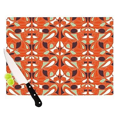 KESS InHouse Orange Swirl Kiss Cutting Board; 11.5'' H x 15.75'' W x 0.15'' D
