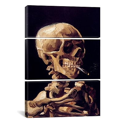 iCanvas Skull w/ Cigarette by Vincent van Gogh 3 Piece Painting Print on Wrapped Canvas Set