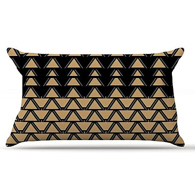 KESS InHouse Deco Angles Gold Black Pillow Case; King