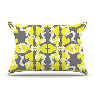 KESS InHouse Flowering Hearts Pillow Case; Standard