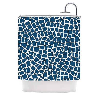 KESS InHouse British Shower Curtain; Mosaic Navy