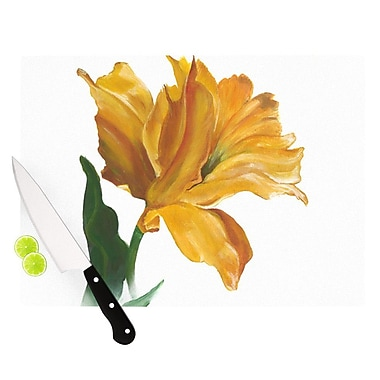 KESS InHouse Yellow Tulip Cutting Board; 8.25'' H x 11.5'' W x 0.25'' D