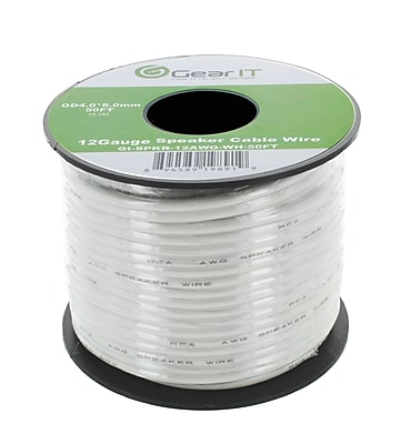 GearIT 50' High Quality 12AWG Speaker Wire Cable, White 1276245
