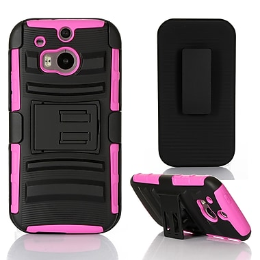 GearIT High Impact Hybrid Armor Dual Layer Case Cover With Stand Holster For HTC One M8, Magenta