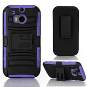 GearIT HTC One M8 Hybrid Armor Dual Layer Cover Stand with Holster, Purple